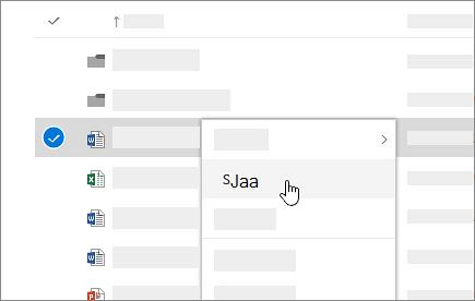Näyttökuva pikavalikosta OneDrive for Businessissa.