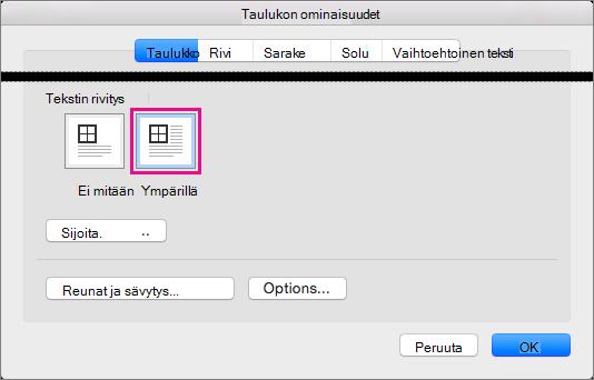 Valitsemalla Ympärillä voit rivittää tekstin valitun taulukon ympärille.