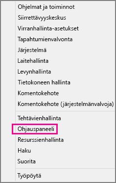Office 2016 Windows 8, ohjauspaneeli
