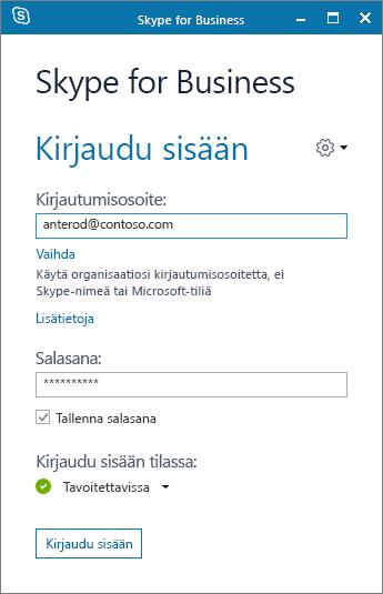 Näyttökuva Skype for Businessin kirjautumisnäytöstä.