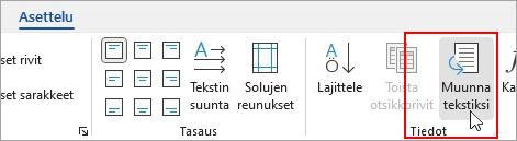 Taulukkotyökalut | Rakenne -välilehden Muunna tekstiksi -kohta näkyy korostettuna.