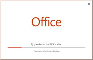 Office-sovelluksen asennuksen eteneminen