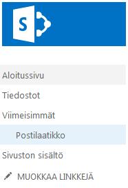 Postilaatikko pikakäynnistyksen Viimeisimmät-kohdassa.