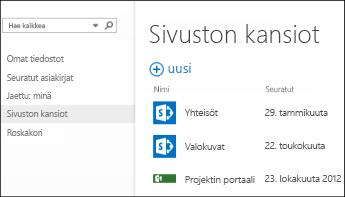 Näet seuraamasi SharePoint Online -sivut valitsemalla sivustokansiot Office 365:n pikatoimintopalkissa.