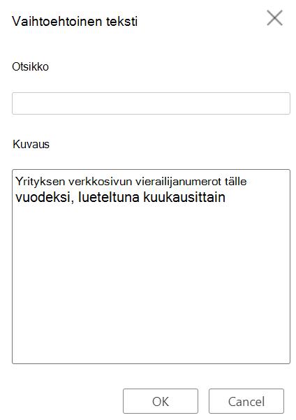 Taulukon vaihtoehtoinen teksti -valintaikkuna Wordin verkkosovelluksessa.