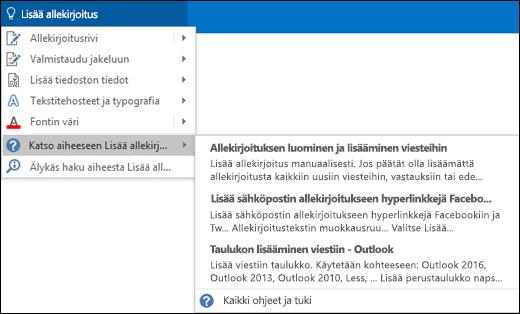 Kirjoita Outlookin Kerro-ruutuun, mitä haluat tehdä. Kerro-toiminto antaa ohjeita tehtävän suorittamiseen.