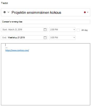Kalenteri Windows 10-tapahtuman tieto näkymässä