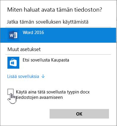 Windowsin Avaa sovelluksessa -valintaikkuna