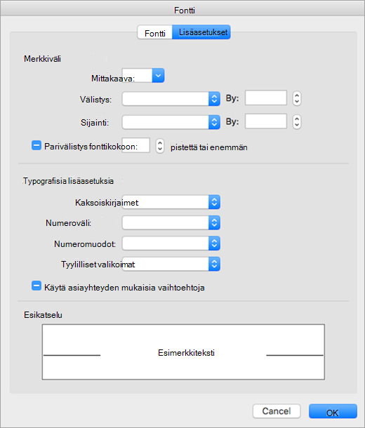 Näyttää Fontti-valintaikkunan Lisäasetukset-välilehti