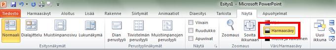 Harmaasävy valittu PowerPointin valintanauhan Näytä-välilehdessä