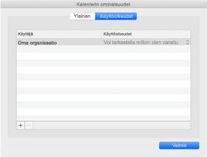 Kalenterin ominaisuudet -ikkuna, jos käytössäsi on REST-synkronointi.