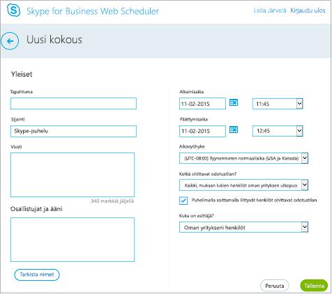 Web Scheduler -näyttö, jossa annetaan kokouksen tiedot ja lisätään kutsuttavat henkilöt