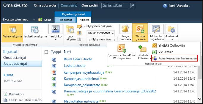 SharePoint 2010:n Jaetut asiakirjat -kansio ja Avaa Resurssienhallinnassa -komento