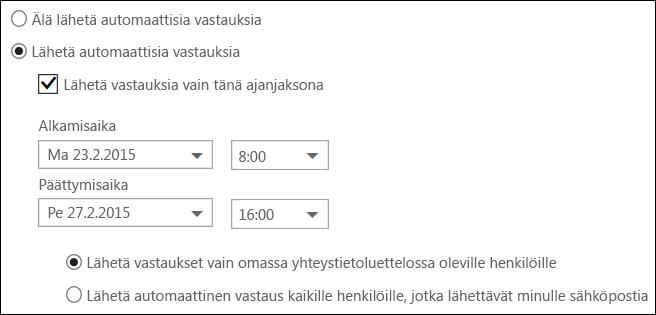 Outlookin verkkoversio, automaattisten vastausviestien ajan asettaminen