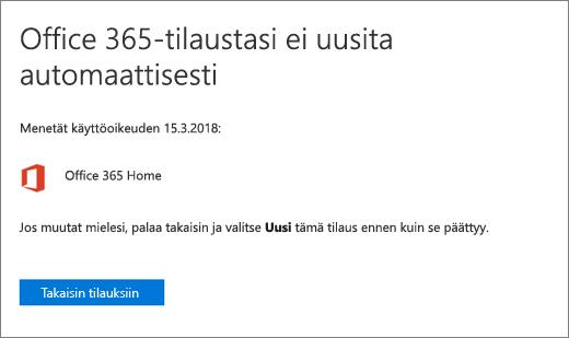 Näyttökuva vahvistussivusta, kun peruutat Office 365 for Home -tilauksen.