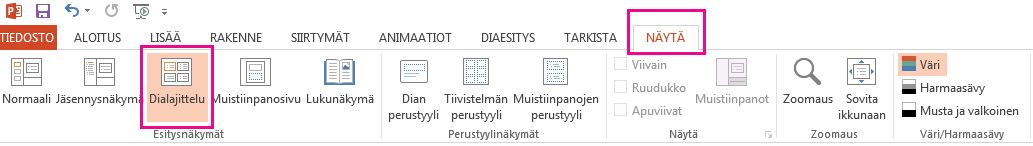 Valitse Näytä-välilehdessä Dialajittelu.