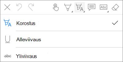 OneDrive for iOS:n PDF-merkintöjen korostus valikko