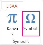 Symbolin lisääminen