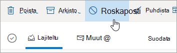 Näyttökuva Outlook.comin Roskaposti-painikkeesta.