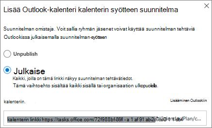 Näyttö kuva lisää palvelu paketin lisääminen Outlook-kalenteriin-valinta ikkunasta