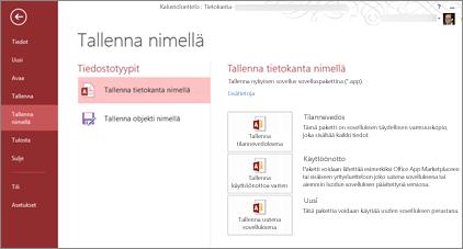 Tallenna tietokantana -asetukset Tallenna nimellä -näytössä