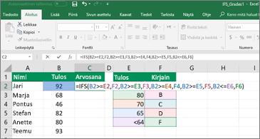 Laskentataulukko, jossa havainnollistetaan JOS.JOUKKO-funktioiden käyttöä opiskelijoiden arvosanojen laskemiseen