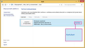 Office 2016 Windows 8, kirjoitustavan asetukset