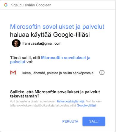 Outlookin käyttöoikeudet-ikkuna Gmail-tilin käyttämiseksi