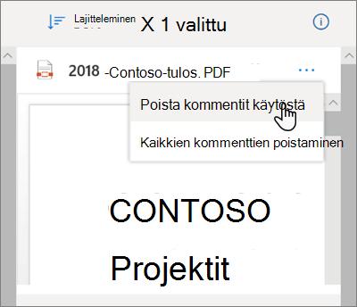 OneDrive-tieto ruutu, jossa Poista kommentit käytöstä-vaihto ehto on valittuna avattavassa valikossa