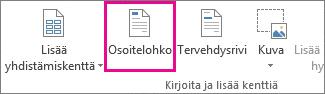Yhdistämisen Osoitelohko-komento