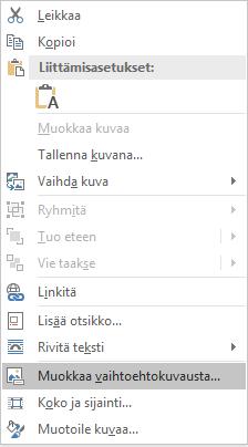 Kuvien Word Win32 Muokkaa vaihtoehtoinen teksti-valikko