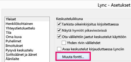 'Näyttökuva Lyncin Yleiset asetukset -ikkunan osasta, jossa on Muuta fontti -painike valittuna'