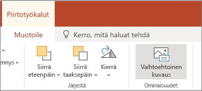Vaihtoehtoinen teksti -painike PowerPoint Onlinen muodon ja videon valintanauhassa.