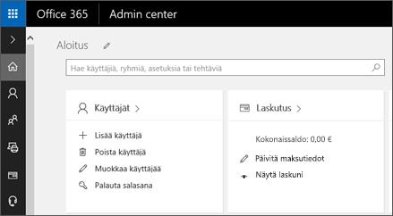 Näyttää Office 365 -hallintakeskuksen.