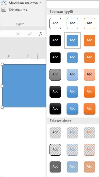 Muototyylien valikoima, joka sisältää uudet Excel 2016 for Windowsiin esiasetuksiksi määritetyt tyylit