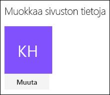 Näyttökuva SharePoint-valintaikkunasta, jossa sivuston logoa voi muuttaa.