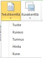 Lisää tekstikenttiä luettelon yhdistämiseen