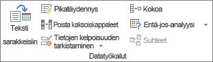 Tiedot-välilehden Tietotyökalut-ryhmä