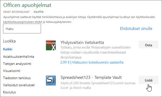 Näyttökuvassa näkyy Office-apuohjelmat-sivu, jossa voit valita tai Hae Excel apuohjelma.