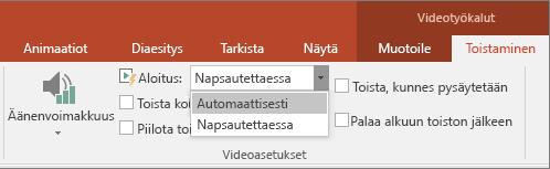PowerPointin Videoasetukset