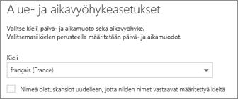 Valitse Outlook Web Appin kieli ja päätä, haluatko nimetä kansiot uudelleen