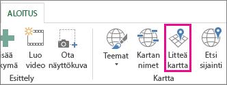 Power Mapin Aloitus-välilehden Flat Map (Litteä kartta) -painike
