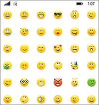 Skype for Businessissa on samat hymiöt kuin Skypen kuluttajaversiolla.