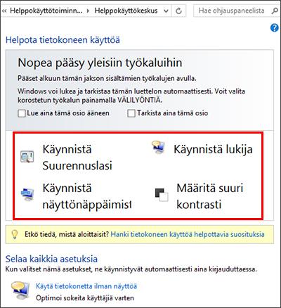 Windowsin Helppokäyttökeskuksen valintaikkuna, josta voit valita haluamasi käyttöä helpottavat toiminnot