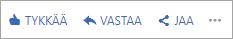 Palkki, jossa näkyy toimintoja, jotka voidaan tehdä missä tahansa Yammer-viestissä