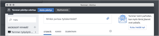 Yammer-sovelluksen päivitykset