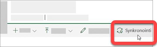 Näyttökuva, jossa näkyy SharePoint-kirjaston Synkronoi-painike.