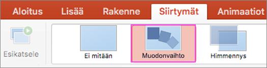 Sulavat PowerPoint siirtymät Muodonvaihdon avulla.