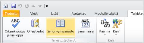 Outlook-valintanauhan Synonyymisanasto-kuvake