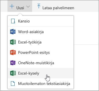 Uusi-valikko, Excel-kysely-komento